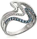 Rhodium Plated Sterling Silver Triple Wave Swiss Blue Topaz White Topaz Ring
