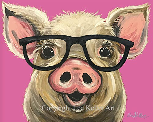 Pig art Print, Pink Posey the Pig, Pig with Glasses art