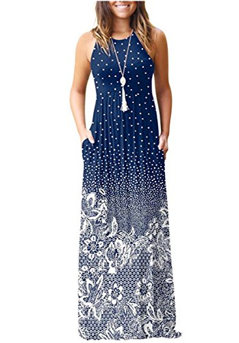 FHKDL Women's Sleeveless Loose Floral Maxi Dresses Casual Long Dresses with ()
