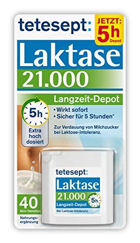 tetesept Laktase 21.000 Langzeit-Depot - Mit 5 Stunden Langzeit-Depot - kontinuierlicher Laktoseabbau in Magen & Darm - wirkt sofort - 1 Dose à 40 Stück (Nahrungsergänzungsmittel)