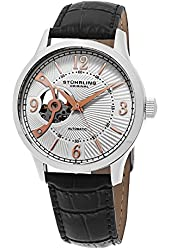 Stuhrling Original Men's Skeleton Automatic Leather Strap Dress Watch