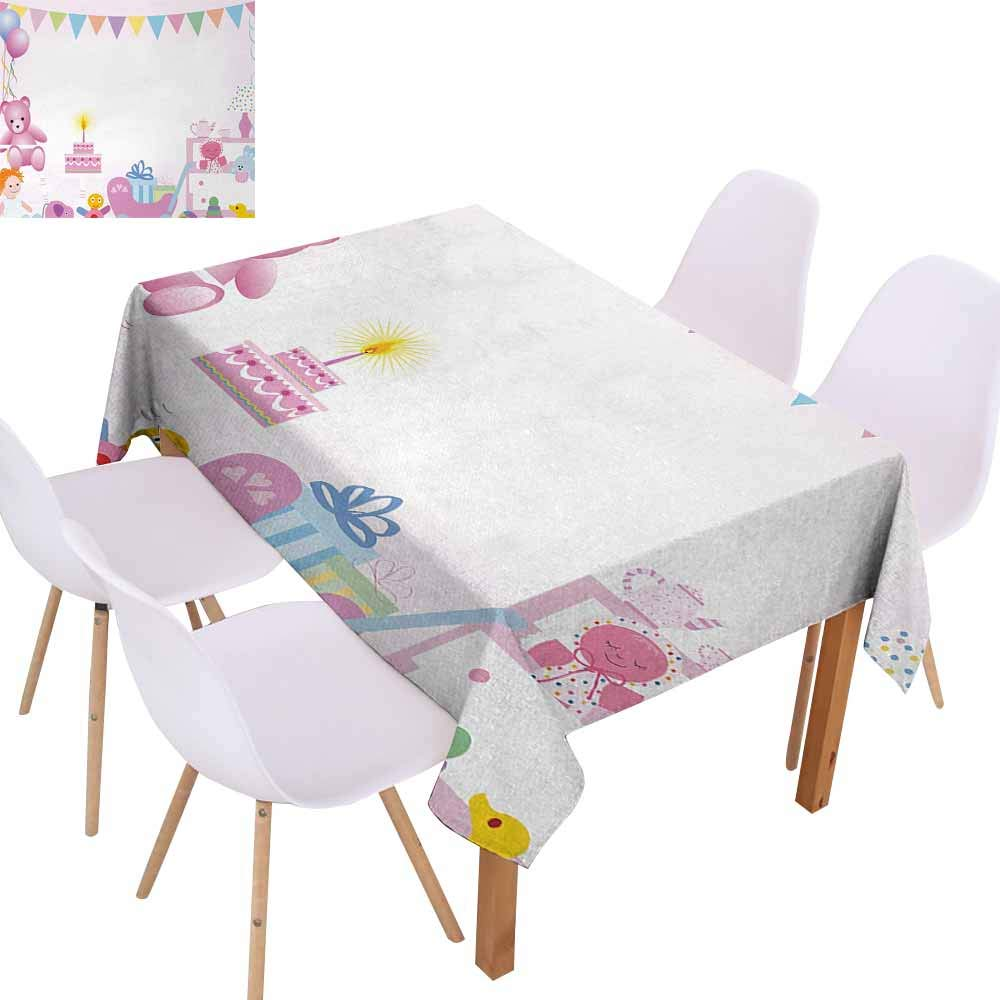 UHOO2018 Kids Birthday,Premium Tablecloth,Baby Girl Birthday Celebration Party with Flags and Bears Cute Toys Print,Oil-Proof Spill-Proof and Water,Light Pink,70''x90''