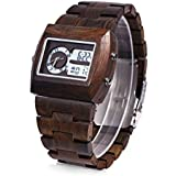 BEWELL Bamboo Wooden Men Quartz Watch with Double Movement Luminous Display(Ebony wood)