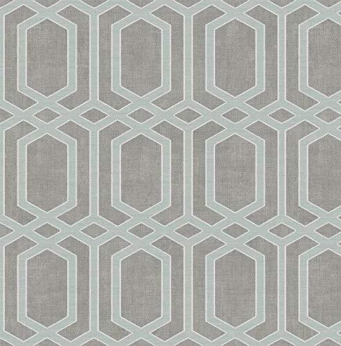 Wallpaper Modern Geometric Stitched Link Trellis Light Aqua Blue on Gray Blue