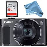 Canon PowerShot SX620 HS Digital Camera (Black) + 16GB SD Memory Card + DigitalAndMore Microfiber Bundle