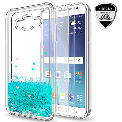 (Galaxy J7 (2015) Case with Tempered Glass Screen Protector [2 Pack] for Girls Women,LeYi Glitter Shiny Moving Quicksand Liquid Clear TPU Protective Phone Case for Samsung J7 J700 2015 ZX Turquoise)