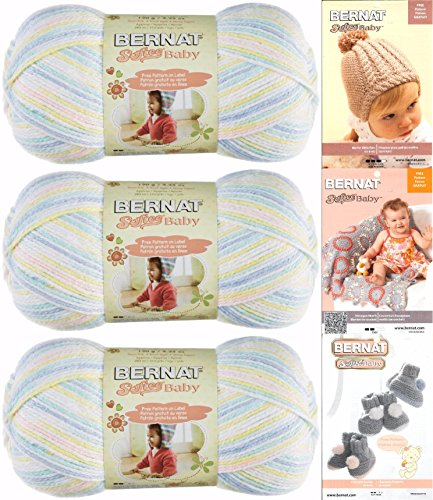 - Bernat Softee Baby Yarn 3 Pack Bundle Includes 3 Patterns DK Light Worsted (Baby Baby Ombre)