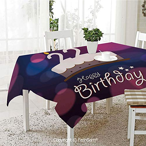 FashSam 3D Dinner Print Tablecloths Vibrant Greeting Bokeh Backdrop Surprise Party Cake Image Tablecloth Rectangle Table Cover for Kitchen(W55 xL72) ()