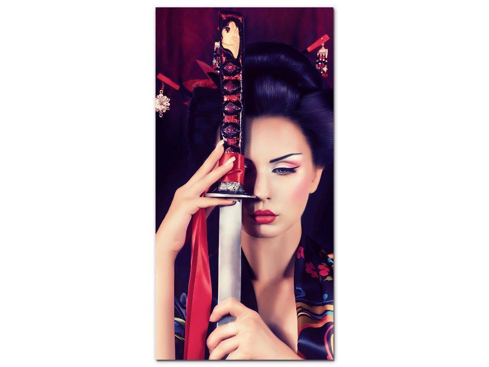 GRAZDesign 100290_001_01_04 Acrylglas Wandbild mit Bild-Motiv Geisha mit Schwert   Wand-Deko für Wohnzimmer als Hochwertiges Kunstdruck (50x100cm)