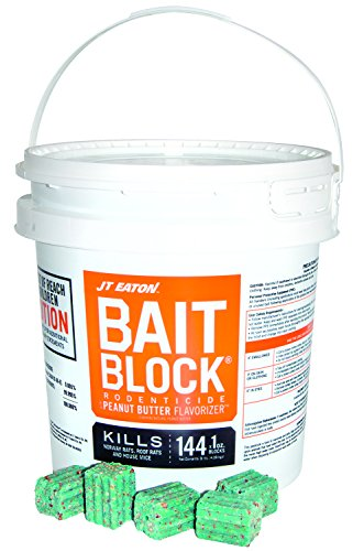 JT Eaton 709-PN Bait Block Rodenticide Anticoagulant Bait, Peanut Butter Flavor, for Mice and Rats (9 lb Pail of 144) ()
