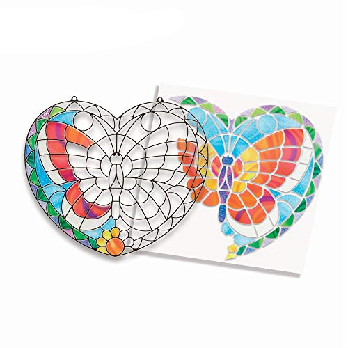 Stained Glass Crafts (Melissa & Doug Stained Glass Made Easy Activity Kit, Arts and Crafts, Develops Problem Solving Skills, Butterfly, 140+ Stickers, 10.5