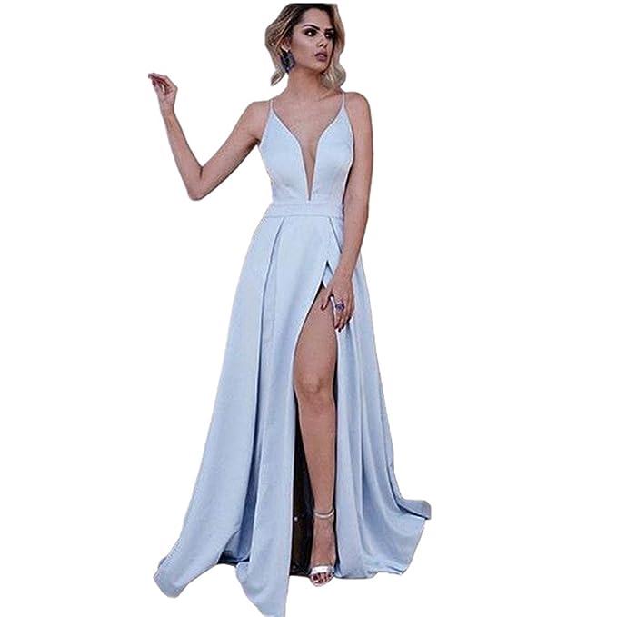 987c0516dd YuNuo Women s A-Line Spaghetti Straps Deep V-Neck Side Slit Long Prom Dress  at Amazon Women s Clothing store
