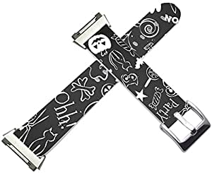 Fitbit Ionic Bands Leather - Fitbit Ionic Strap Silver Connectors Halloween Hallowmas Grey Print Artist Design Gift
