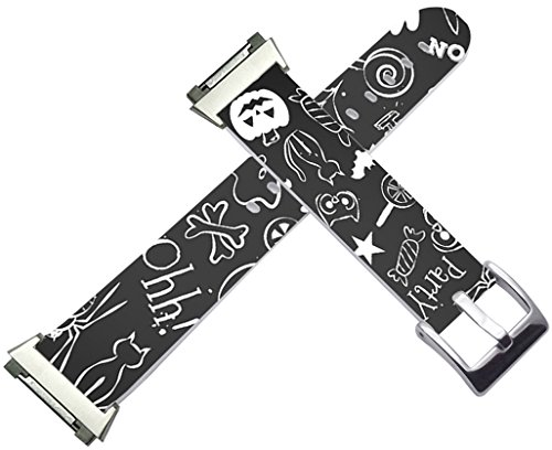 Leather Bands for Fitbit Ionic - Cisland Compatible Leather Strap for Fitbit Ionic Small/Large Silver Connectors Halloween Hallowmas Grey Print Artist Design Gift
