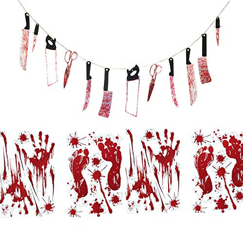 Scary Halloween Party Favors 12pcs Bloody Weapon Garland Props + 4 Sheets Bloody Halloween Window Clings Wall Stickers Handprints Footprints Decals for Vampire Zombie Bloody Party -