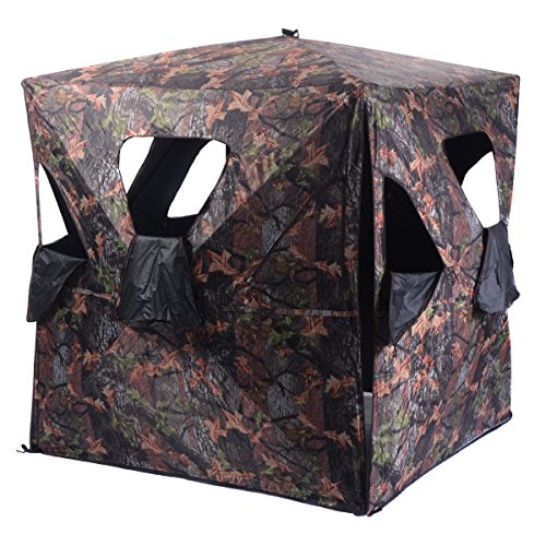 Window Blind Camo - king77777 Ground Hunting Blind Portable Deer Pop Up Camo Hunter Zipper Roof Door Windows for Professional Wild Life Fowl Game Hunt Camping