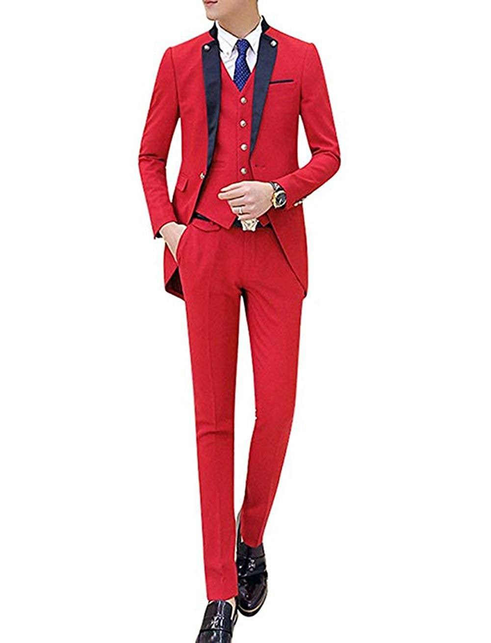 NewStyle Red Suits Jacket for Men 3 Piece Mens Tailcoat ...