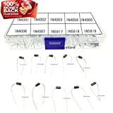 Ltvystore 100PCS 10Value (1N4001~1N5819) Diode Assorted Kit Set with Clear Box