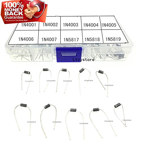 Ltvystore 100PCS 10Value (1N4001~1N5819) Diode Assorted Kit Set with Clear Box by Ltvystore
