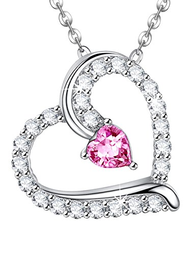 1 Wife Heart Pendant - Anniversary Gift for Her For wife Pink Sapphire Swarovski You are the only One in my Heart Necklace Pendant Birthstone Sterling Silver Charm and Chain