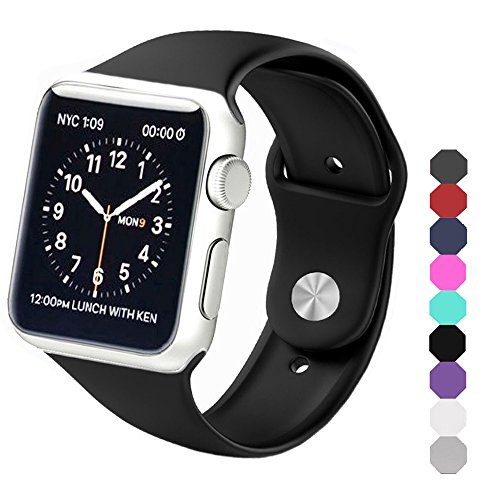 Sxciw Soft Silicone Sports Replacement Wristband for Apple Watch, 42 mm, Small/Medium, Black
