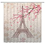 Cherry Blossom Shower Curtain Feierman Vintage Eiffel Tower Shower Curtain Art Decor Pink Romantic Cherry Blossom Bathroom Curtain Decor Set with Hooks 70x70Inches
