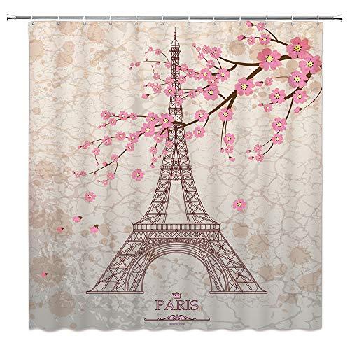 Feierman Vintage Eiffel Tower Shower Curtain Art Decor Pink Romantic Cherry Blossom Bathroom Curtain Decor Set with Hooks 70x70Inches -