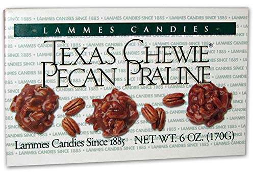 Lammes Texas Chewie Pecan Praline Candies - 6 Ounce Box of the Original Chewy Caramel Candy