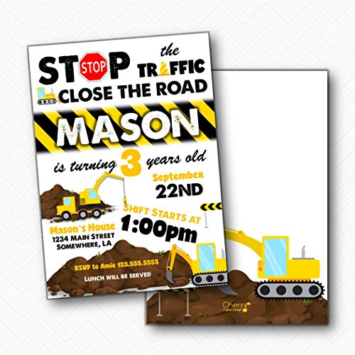 (Stop the Traffic Construction Boy Birthday Party invitations | Envelopes Included)