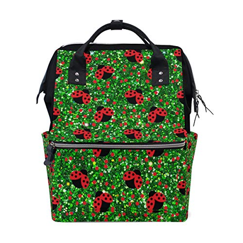 - Seamless Spot Red Ladybug Diaper Bags Large Travel Nappy Nursing Backpack Mommy Bag