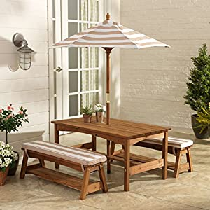 KidKraft 00 Outdoor Table and Bench Set with Cushions and Umbrella, Espresso with Oatmeal and White Striped Fabric