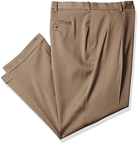 Savane Men's Big and Tall Pleated Stretch Crosshatch