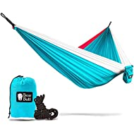 Bear Butt Double Parachute Camping Hammock, Sky Blue / Pink / White