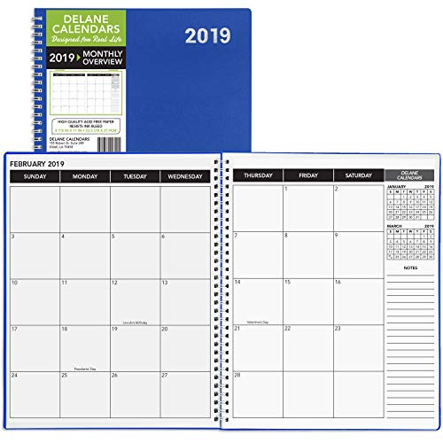 daily monthly planner 2019 calendar  appointment book  blue