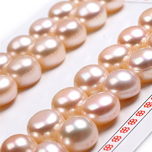 11mm - 1/2 11mm 16 Pairs AAA Grade Half Drilled Freshwater Cultured Pearls Beads for Earrings Stud Jewelry Making (Pink)