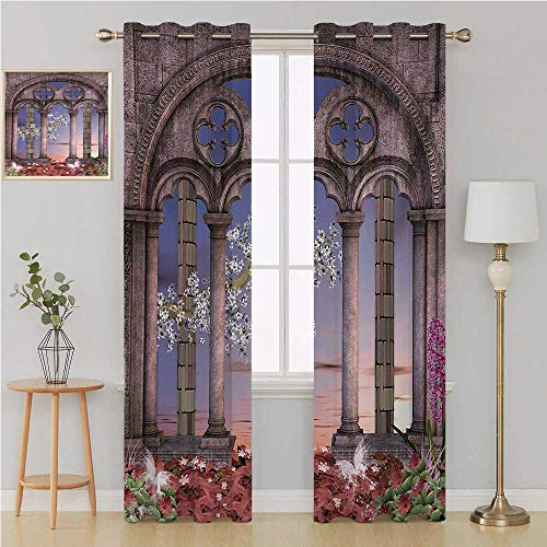 Benmo House Gothic grummet Curtain Room Divider Curtain Screen Partitions,Ancient Colonnade in Secret Garden with Flowers at Sunset Enchanted Forest Curtain Panels 96 by 84 Inch Grey Blue Lilac Red