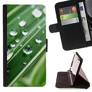 For Sony Xperia M2 Case , Gota de agua Hoja Verde Macro- la tarjeta de Crédito Slots PU Funda de cuero Monedero caso cubierta de piel