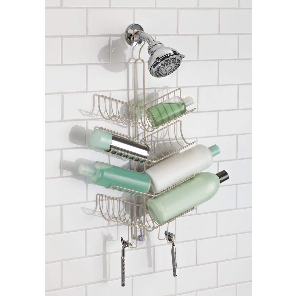 mDesign Duschablage zum H/ängen 8 K/örbe und 4 Haken zur Aufbewahrung von Duschzubeh/ör praktisches Duschregal ohne Bohren aus Metall bronzefarben