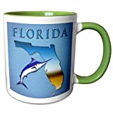 3dRose Boehm Graphics Florida - State of Florida with marlin - 11oz Two-Tone Green Mug (mug_58820_7)