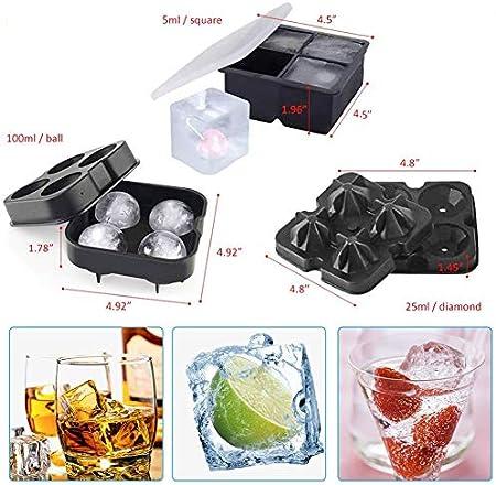 Molde de Hielo redondo, NALCY 3Pcs Whisky Ice Ball Maker, Bandejas para Hielo Silicona, Molde Cubo Hielo, Diseño de Diamantes, Reutilizable, para Congelarse Alimentos para Bebe Agua Cócteles Whisky