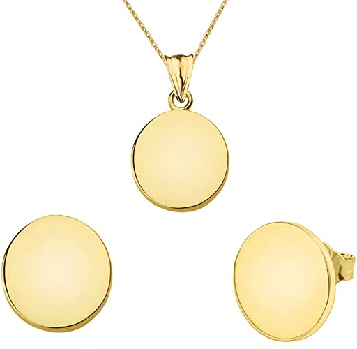 Amazon Com Fine 14k Yellow Gold Plain Round Shape Charm Pendant And Earrings Set Jewelry