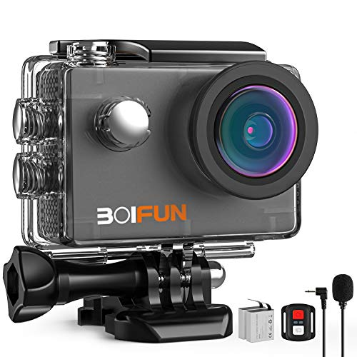 BOIFUN 4K 20MP Anti-Shake Underwater Action Sport Wi-Fi Camera with External Microphone Waterproof 40 Meters Remote Control and 20 Accessories