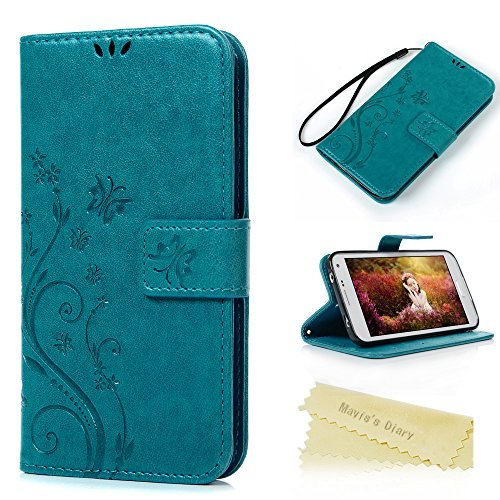 Mavis's Diary S5 Case,Samsung Galaxy S5 Case Embossed Wallet Premium PU Leather with Fashion Floral Butterfly Magnetic Clasp Card Holders Soft TPU Rubber Inner Case Flip Cover with Hand Strap (Blue)