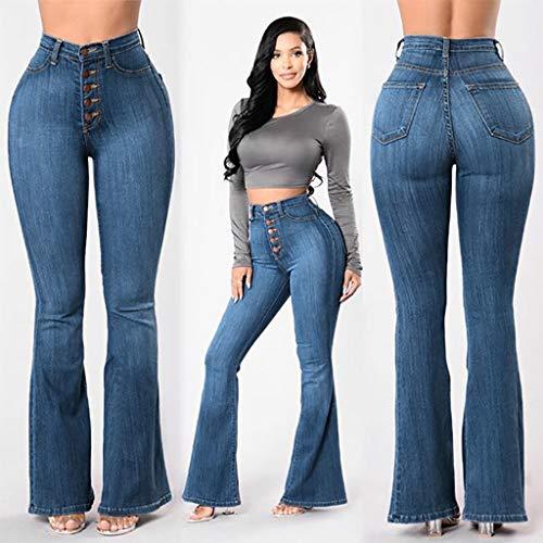 STRIR Vaqueros Talla Grande Mujer,Mujeres De Cintura Alta Pantalones Vaqueros Pantalones Largos Damas Denim Pantalones Acampanados Pantalones De ...
