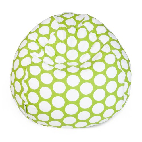 Majestic Home Goods Classic Bean Bag Chair - Large Polka Dots Giant Classic Bean Bags for Small Adults and Kids (28 x 28 x 22 Inches) (Lime Green) by Majestic Home Goods
