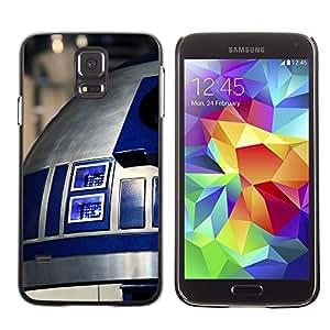 KLONGSHOP // Cubierta de piel con cierre a presión Shell trasero duro de goma Protección Caso - R2D2 - Samsung Galaxy S5 //