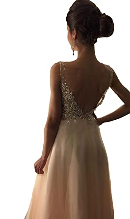Yangprom Enticing V-neck Tank A-line Prom Dress Beading Backless Evening Gown 2