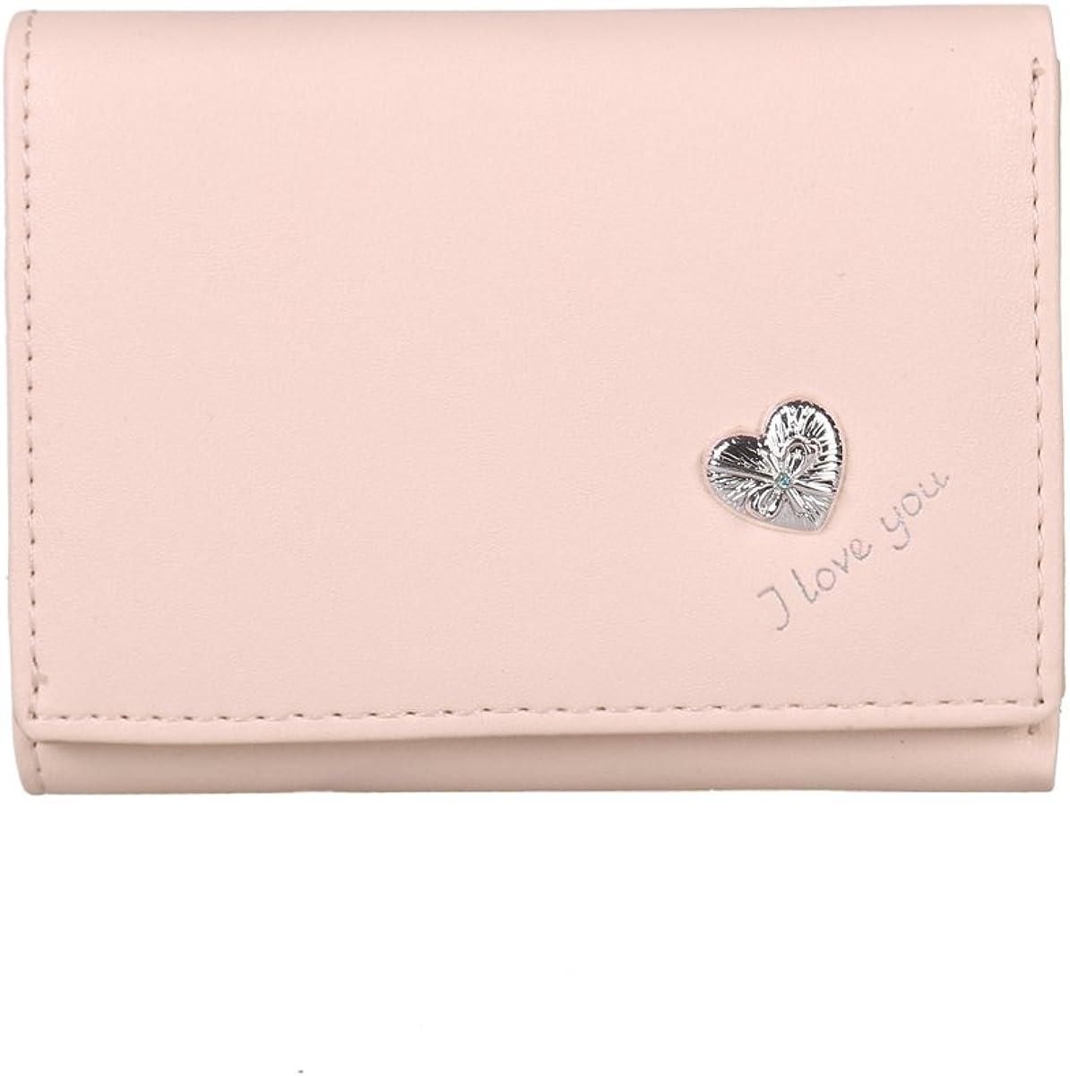 Damara Womens Dainty Card Case Heart Hardware Simple Mini Wallet