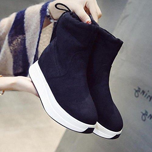 Satin Black Baumwolle Warm Hinterriemen Schneeschuhe Stiefel 36 Kurze Plus Schuhe Samt 5Cm Wild 4 KHSKX TdwavT