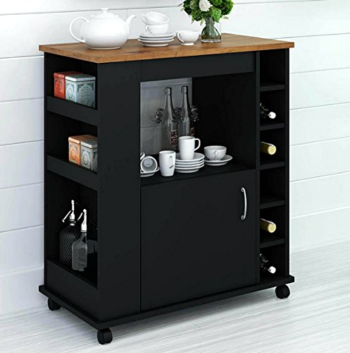 Portable Kitchen Island Cart With Wine Rack – Rolling Utility Island is  Perfect for Serving Guests in Style in a Durable Wood Design With Drawer ...